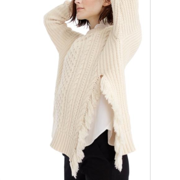 a876a216c61a27 J. Crew Sweaters | J Crew Cableknit Sweater With Fringe Sz L | Poshmark